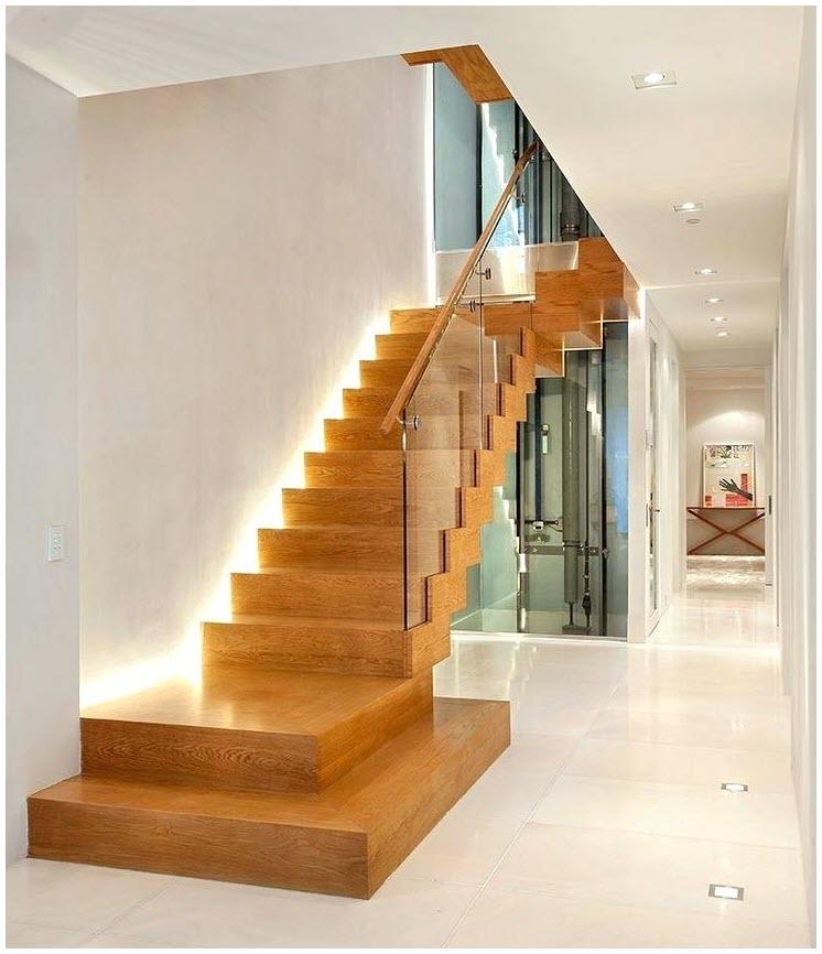 Mẫu cầu thang gỗ kính đẹp