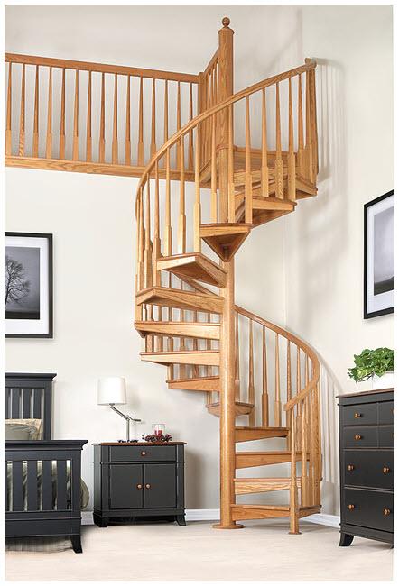 Mẫu cầu thang gỗ tròn đẹp