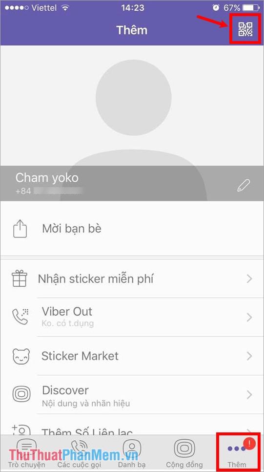 Mở viber trên điện thoại, chọn phần Thêm - chọn biểu tượng mã QR