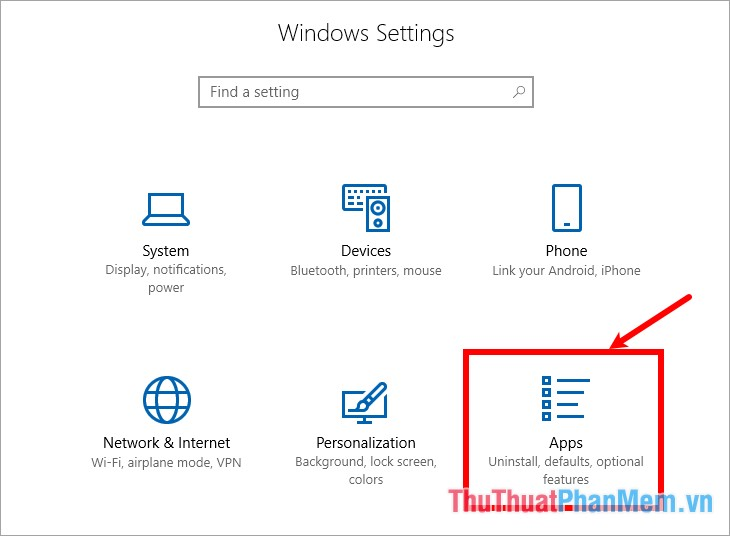Trong phần Windows Settings chọn Apps