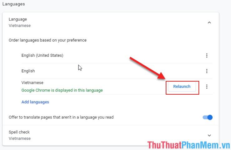 Chọn Relaunch để khởi động lại ứng dụng Google Chrome