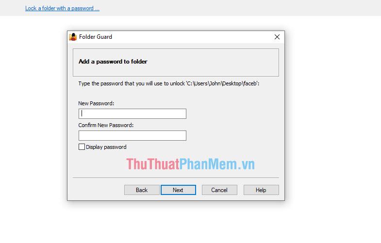 Tạo mật khẩu cho thư mục cần khóa