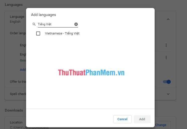 Tìm Tiếng Việt và chọn Add để thêm tiếng Việt vào Google Chrome