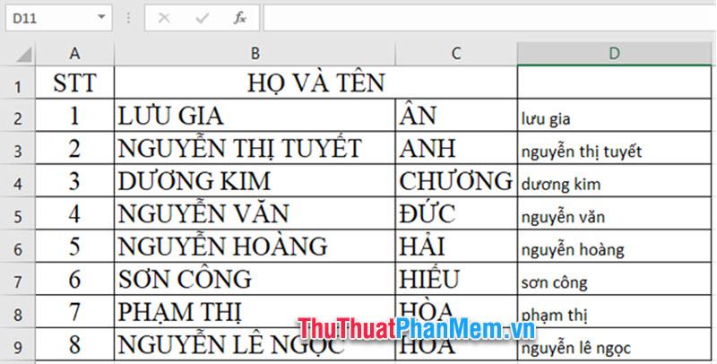 Cách chuyển chữ hoa thành chữ thường trong Excel đơn giản, nhanh chóng