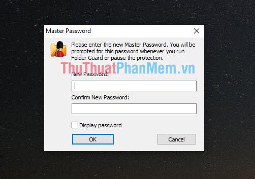 Yêu cầu bạn tạo mật khẩu để vào được ứng dụng