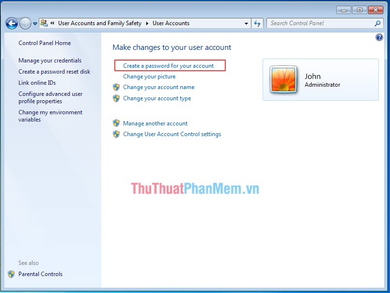 Chọn Create a password for your account