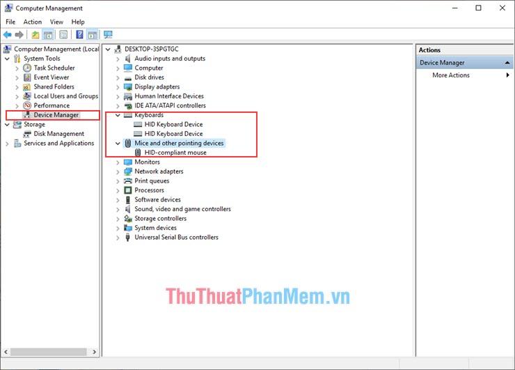 Chọn Devece Manager và Click vào Keyboards và Mouse