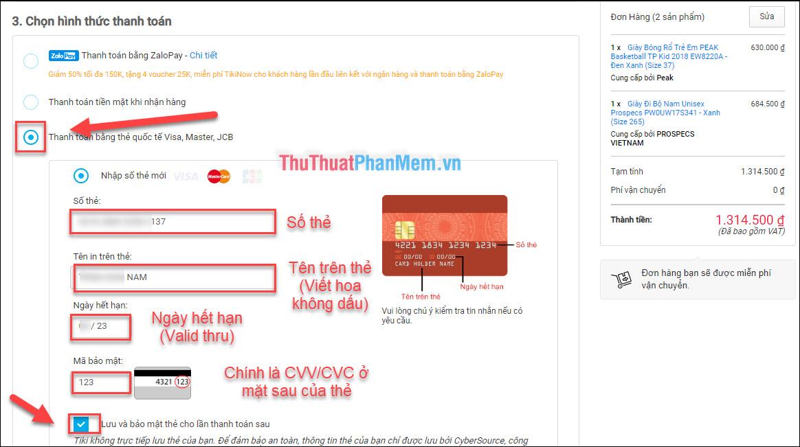"""Chọn hình thức """"Thanh toán bằng thẻ Visa, Mastercard, JCB"""", cung cấp thông tin thẻ và CVV/ CVC của thẻ"""