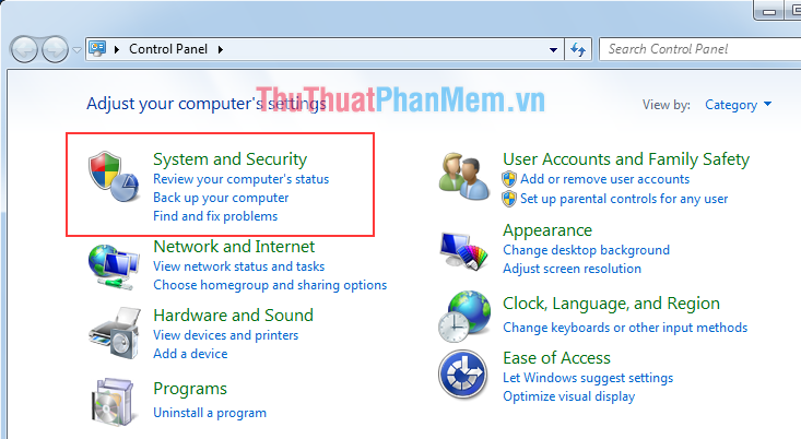Chọn mục System and Securit