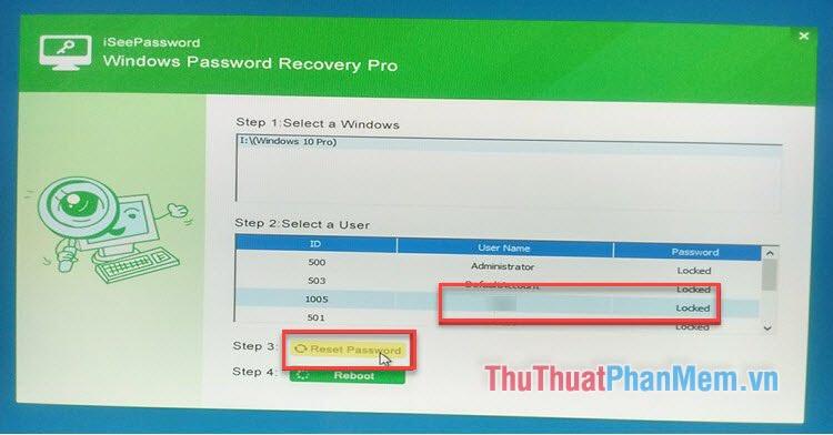 Chọn người dùng muốn reset mật khẩu (thường là Administrator) rồi chọn Reset Password