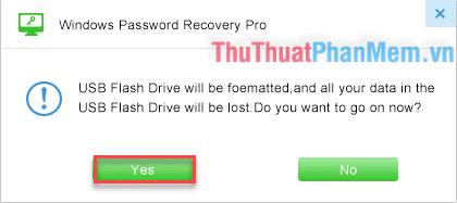 Chọn Yes để format USB