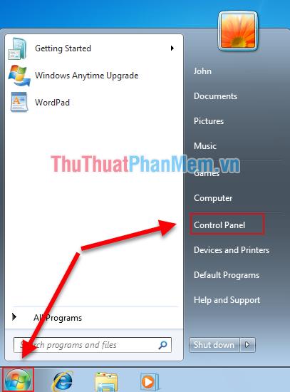 Click vào biểu tượng Windows, tìm tới mục Control Panel