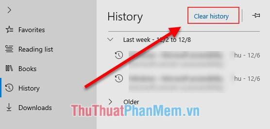 Click vào Clear History để xóa dữ liệu