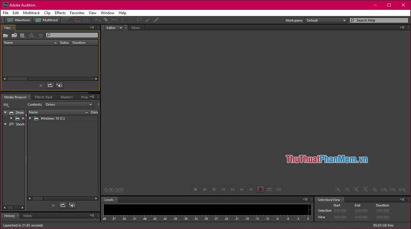 Giao diện chính của Adobe Audition CS6