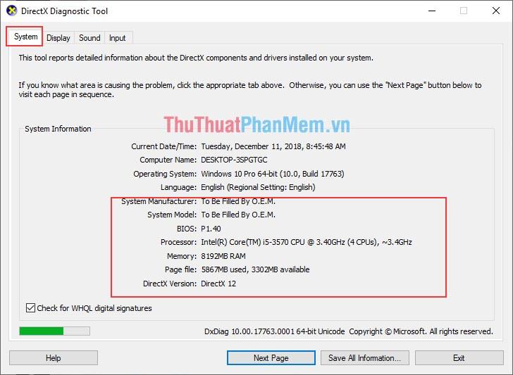 Ở phần System sẽ hiển thị Mainboard, CPU, RAM, phiên bản Windows của bạn