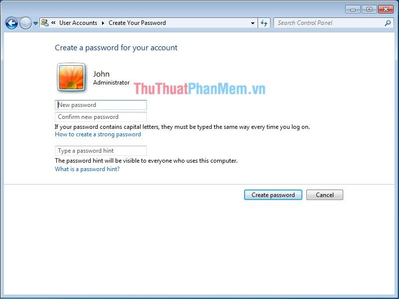 Tạo mật khẩu của mình, sau đó nhấn Create password