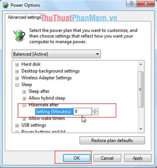 Thay đổi thông số Setting của Hibernate after trong mục Advance Setting về 0