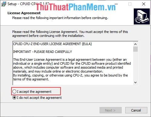 Tiến hành cài đặt CPU-Z, Chọn I accept the agreement