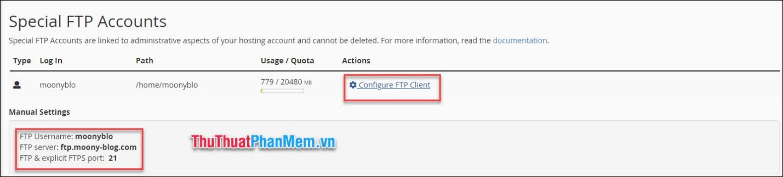 Chọn Configure FTP Client, những thông tin về tài khoản sẽ hiện ra