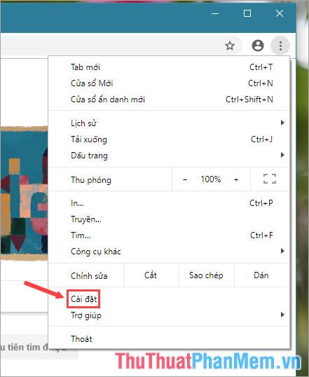Click chuột vào dấu 3 chấm ở góc phải màn hình rồi chọn Cài đặt