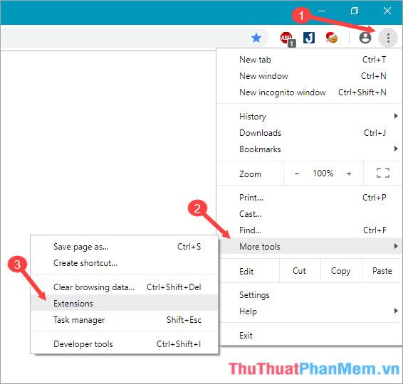 Click vào dấu 3 chấm - chọn More tools và chọn Extensions
