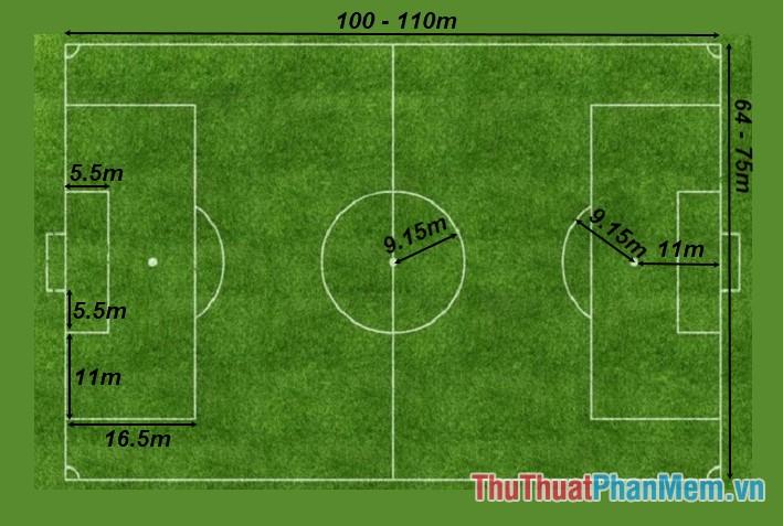 Kích thước sân bóng đá 11 người chuẩn
