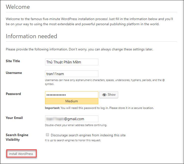 Nhập tên website, tài khoản người dùng trên website và email