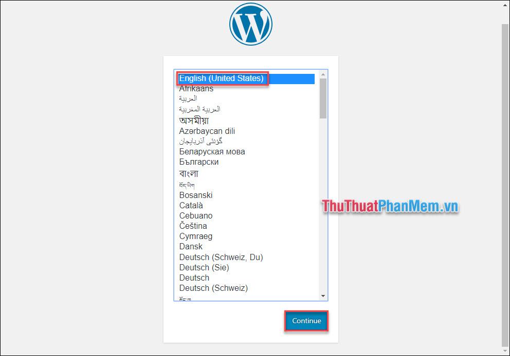 Quay lại với website của bạn, chọn ngôn ngữ English