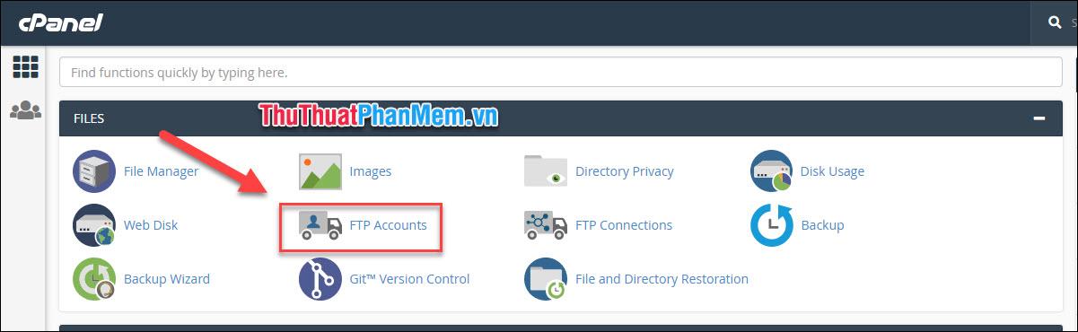 Tại giao diện chính cPanel, chọn mục FTP Accounts