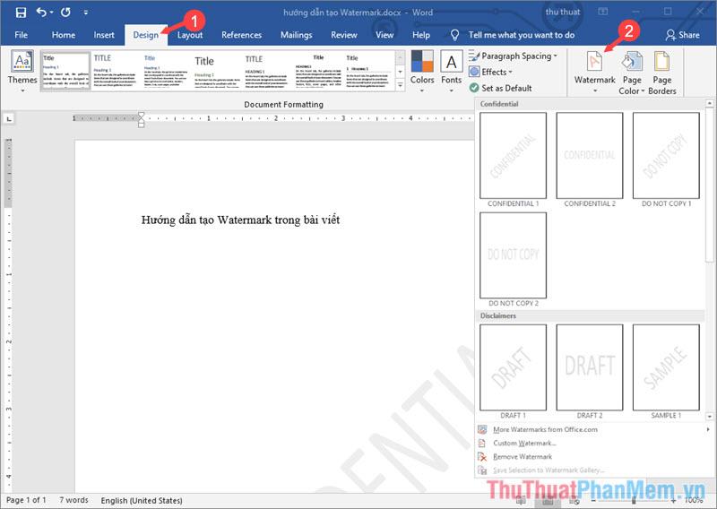 Tạo Watermark trong trình soạn thảo văn bản Microsoft Word