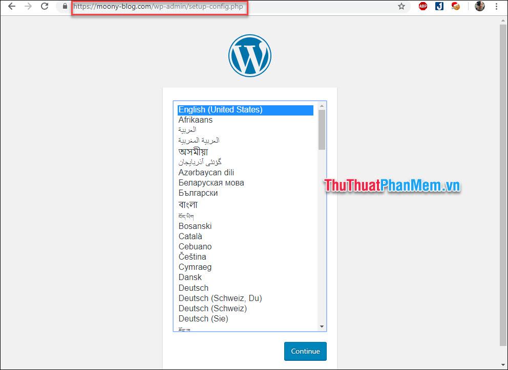 Truy cập vào tên miền sẽ thấy giao diện cài đặt wordpress hiện lên