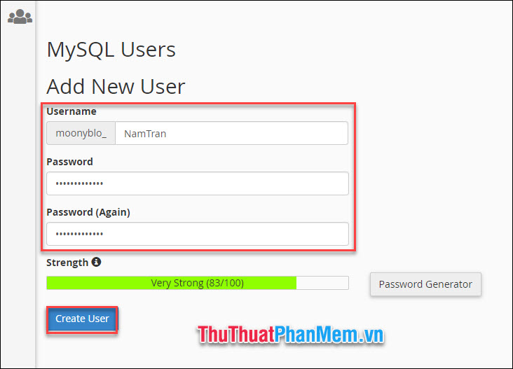 Xuống phần Add new user để tạo tài khoản người dùng cho Database