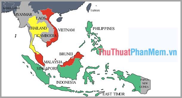 Bản đồ các nước Đông Nam Á