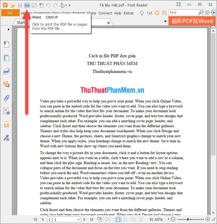 Chọn biểu tượng in Print trên thanh Quick Access Toolbar