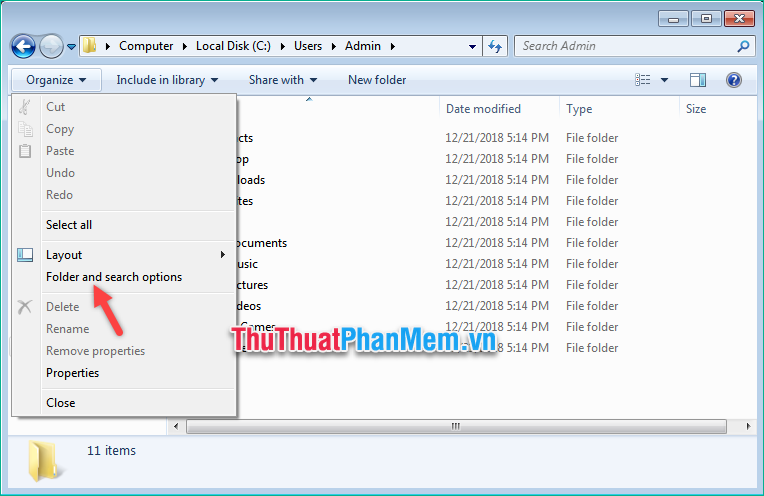 Chọn mục Folder and search option