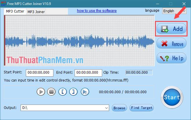 Chọn mục Mp3 Cutter sau đó nhấn nút Add để thêm bài nhạc cần cắt