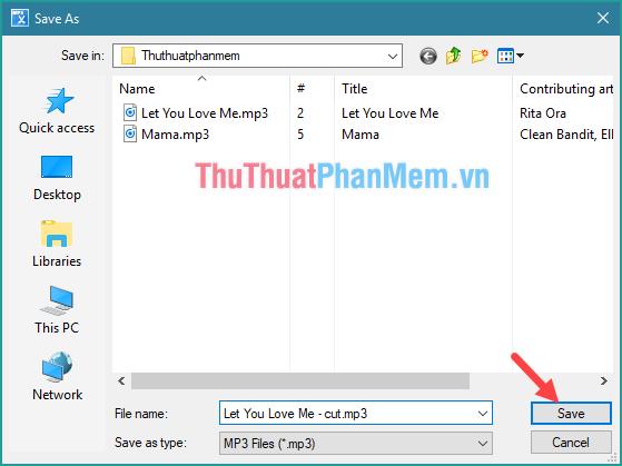 Chọn nơi lưu và đặt tên file nhạc, chọn Save