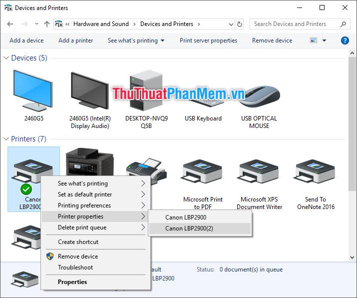 Click chuột phải vào biểu tượng máy in - Chọn Printer Properties - Chọn Driver muốn in thử