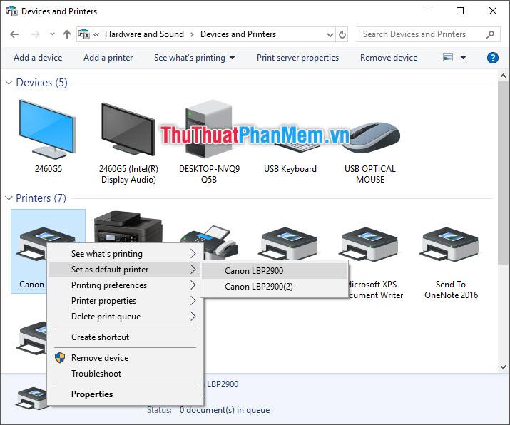 Click chuột phải vào biểu tượng máy in - Chọn Set as default printer - Chọn tên phần mềm Driver