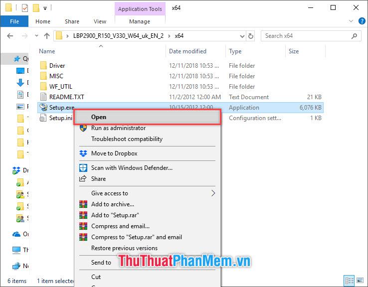 Click đúp vào file Setup.exp hoặc click chuột phải chọn Open
