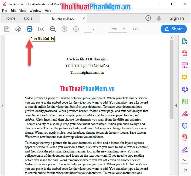 Click vào biểu tượng máy in Print file trên thanh công cụ