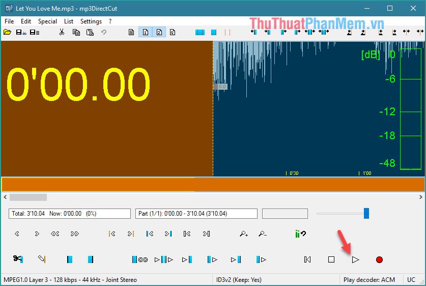 File nhạc được tải lên phần mềm, kích chọn Play để nghe thử