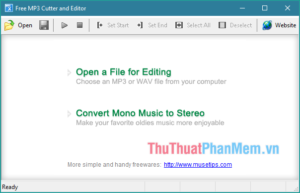 Giao diện phần mềm Free MP3 Cutter and Editor