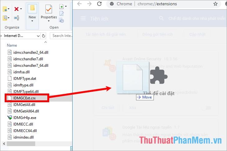 Kéo tập tin IDMGCExt.crx trong IDM sang cửa sổ tiện ích của Chrome