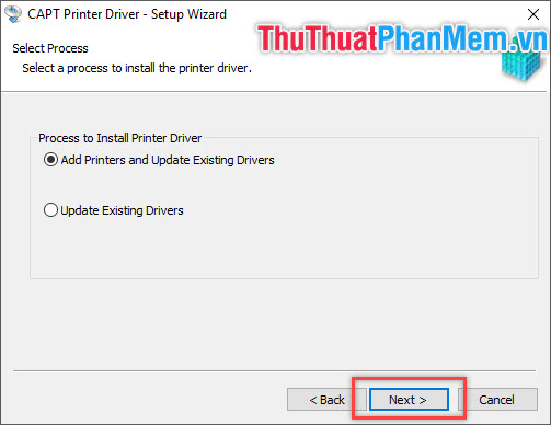 Lựa chọn Add Printers and Update Existing Drivers hoặc Update Existing Driver