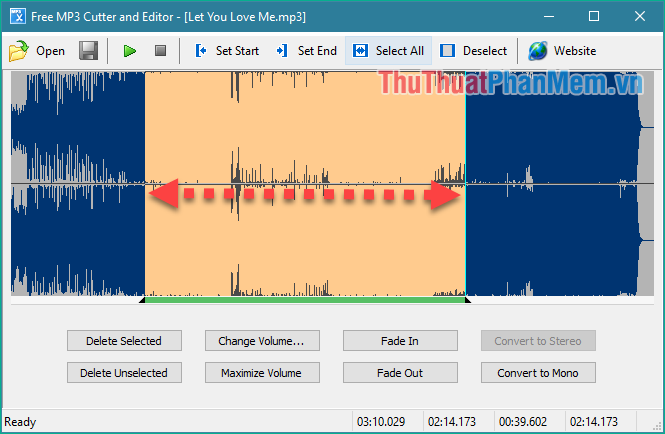 Nhấn giữ chuột trái và kéo một đoạn trên sóng nhạc để chọn đoạn nhạc muốn cắt