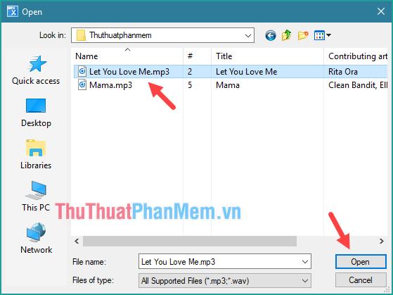Nhấn Open a File for Editing sau đó đó mở bài nhạc muốn cắt