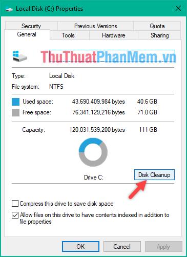 Sử dụng tính năng Disk Cleanup có sẵn trong windows