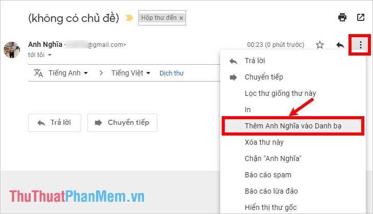 Thêm liên lạc mới từ một thư Gmail