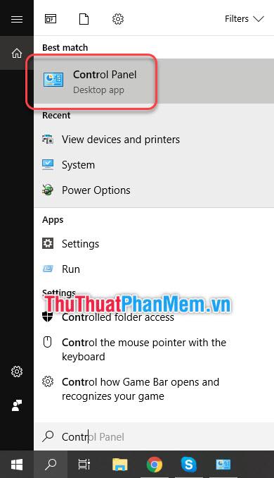 Tìm kiếm Control Panel trong tìm kiếm của Windows